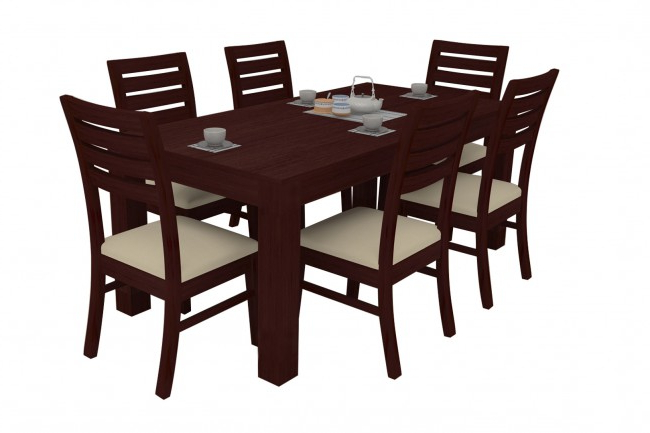 Wooden Dining Tables And 6 Chairs Pertaining To Best And Newest Alana Mahogany Dining Table Set 6 Seater (Teak Wood) – Adona Adona Woods (View 20 of 20)