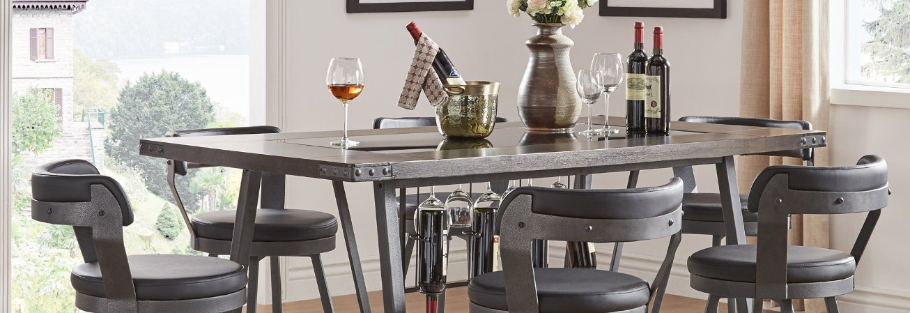 Wyatt 7 Piece Dining Sets With Celler Teal Chairs Intended For Most Popular Buy Bar & Pub Table Sets Online At Overstock (View 10 of 20)