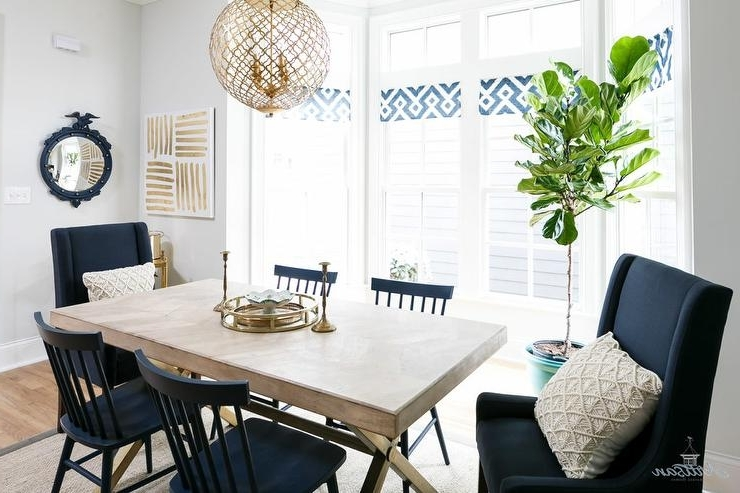 X Based Dining Table With Navy Blue Dining Chairs – Transitional With Well Known Blue Dining Tables (Gallery 19 of 20)