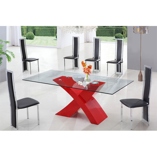 X Glass Dining Table In High Gloss Red With 6 Dining Chairs Pertaining To Recent Red Gloss Dining Tables (View 7 of 20)