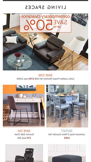Your Modern Style: On Clearance! – Living Spaces Email Archive Pertaining To Fashionable Jameson Grey 5 Piece Counter Sets (View 13 of 20)