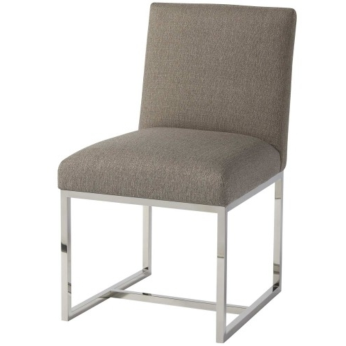 Zephyr Cooper Stainless Steel & Upholstered Arm Chair In Dark Gray Within Most Current Cooper Upholstered Side Chairs (Gallery 4 of 20)