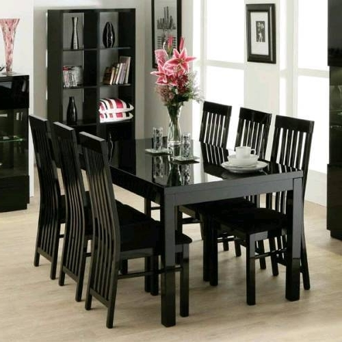 Zone Furniture Black Gloss Dining Table And 6 Chairs (Gallery 4 of 20)