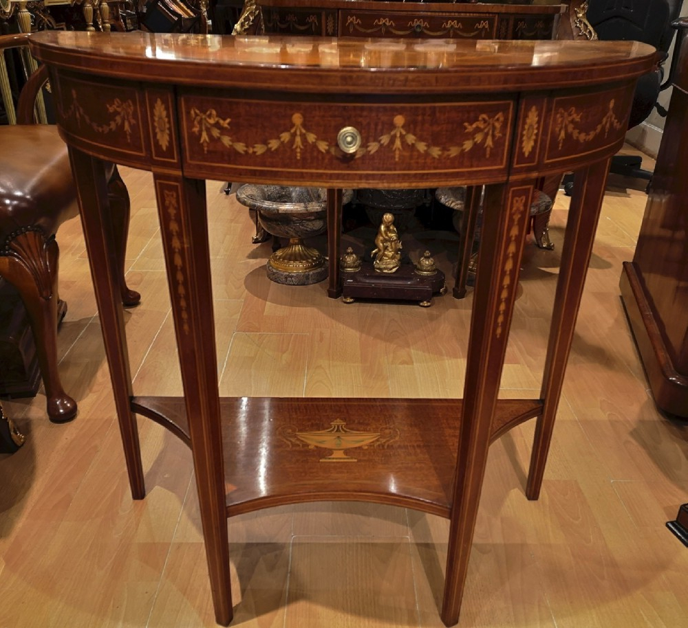 19th Century Mahogany And Inlaid Console Table | 595605 Inside Orange Inlay Console Tables (View 14 of 20)