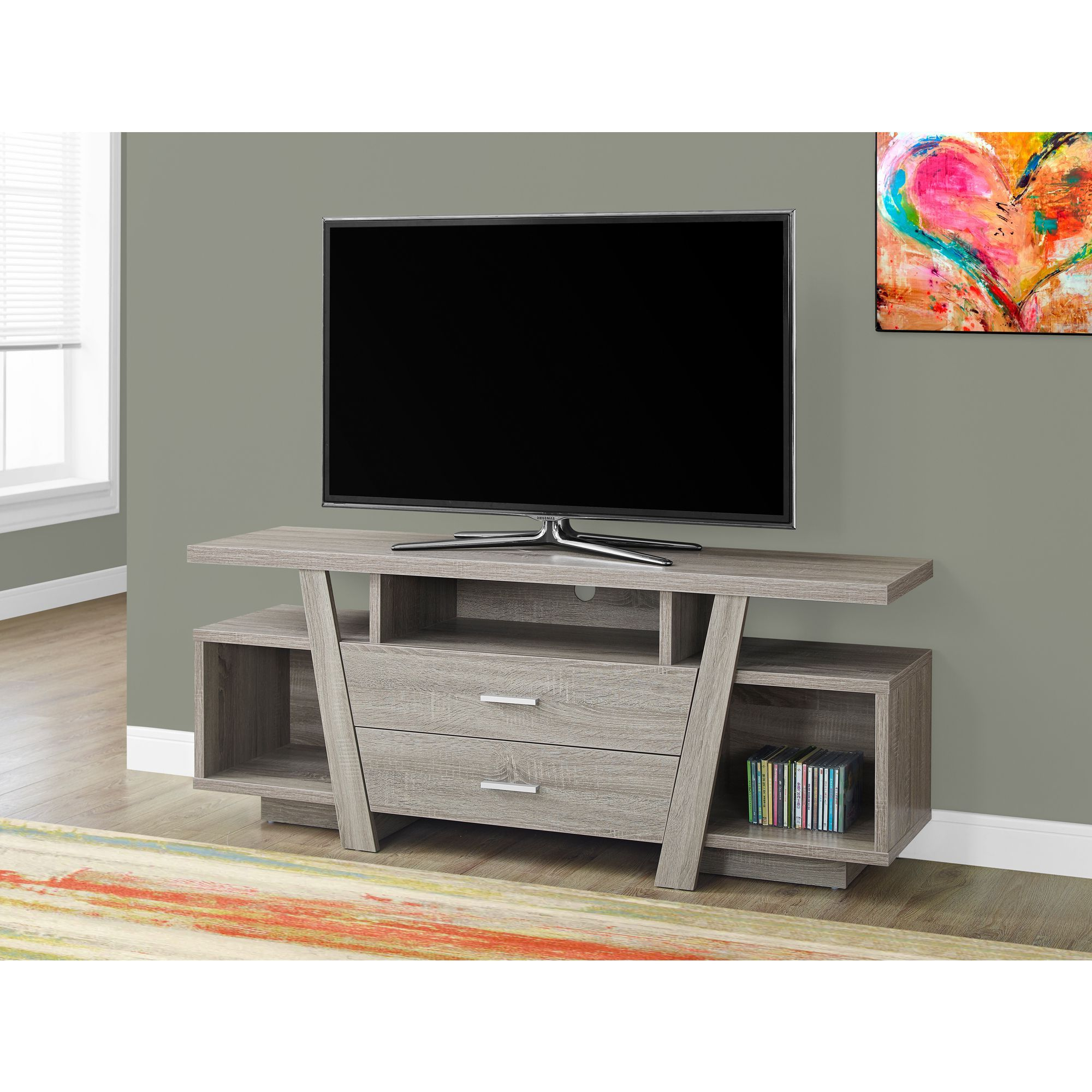2 Drawer Dark Taupe 60 Inch Tv Stand (tv Stand – 60l / Dark Taupe For Rowan 64 Inch Tv Stands (View 10 of 20)