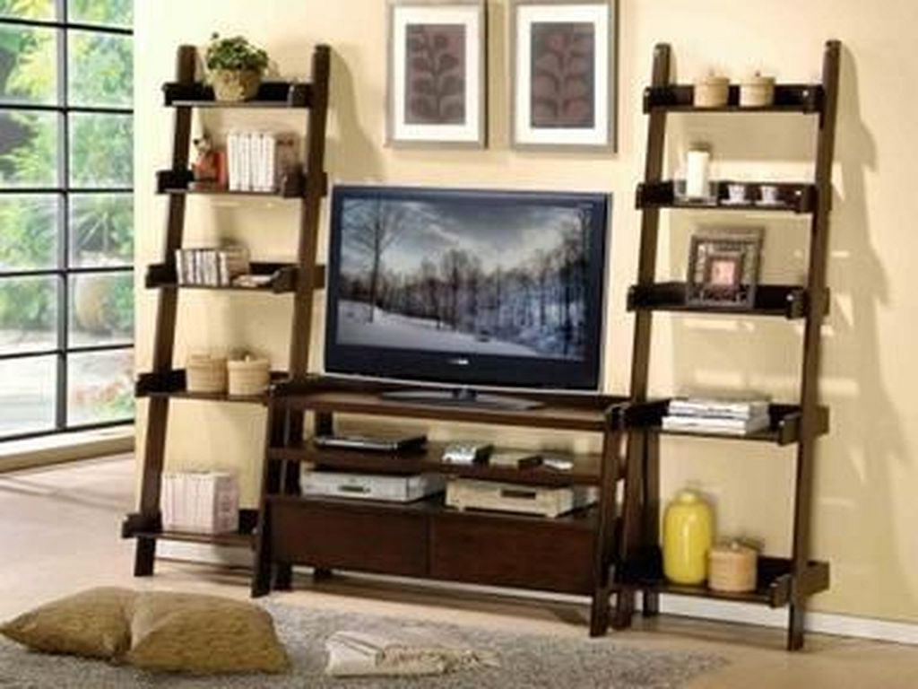 20+ Charming Ladder Shelf Ideas To Decorate Your Home | Decoration In Kilian Black 74 Inch Tv Stands (Gallery 9 of 20)