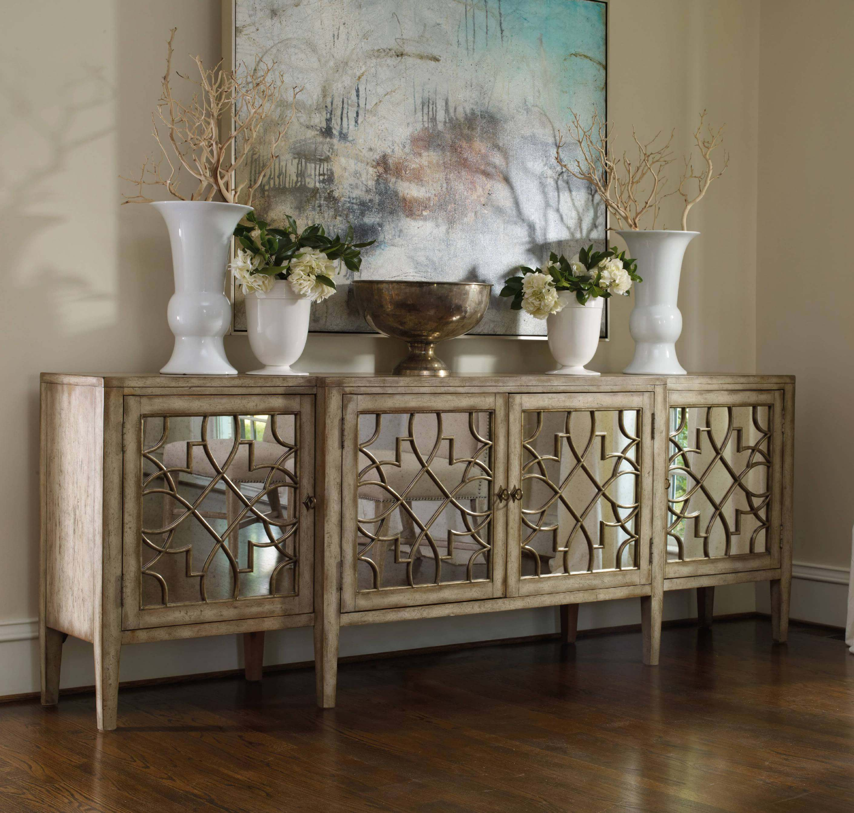 30 Best Rustic Glam Decoration Ideas And Designs For 2019 Throughout Natural Wood Mirrored Media Console Tables (View 2 of 20)