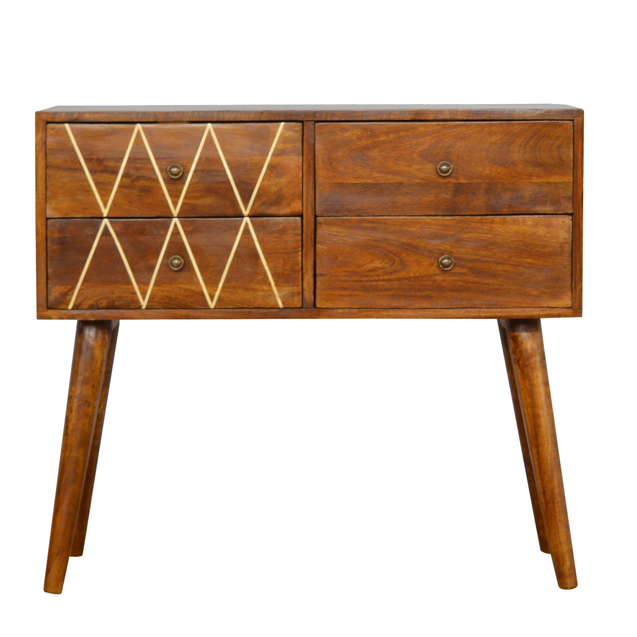 4 Drawer Nordic Style Console Table With Brass Inlay – Oh Me Oh My For Orange Inlay Console Tables (Gallery 3 of 20)