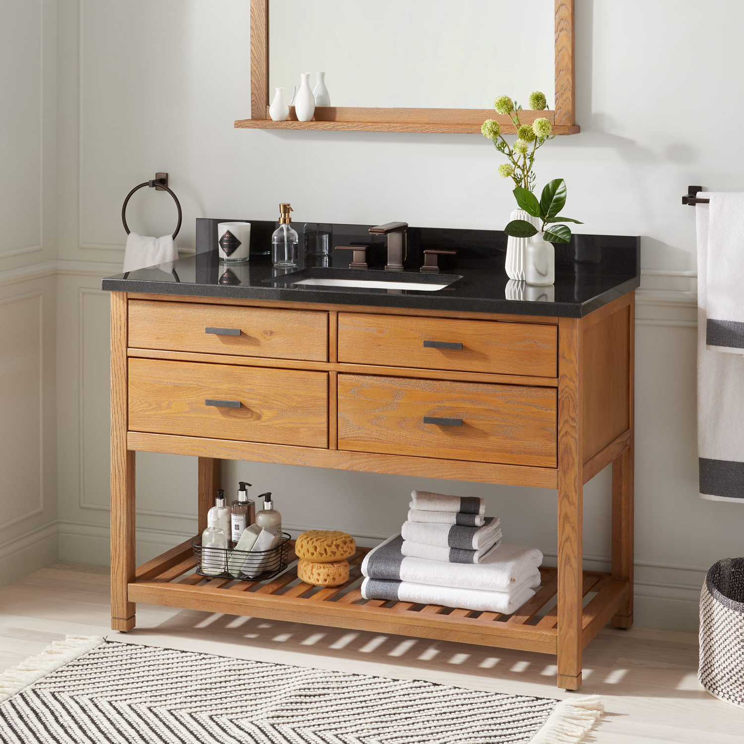 """48"""" Toby Console Vanity For Rectangular Undermount Sink – Bathroom Intended For Tobias Media Console Tables (View 4 of 20)"""