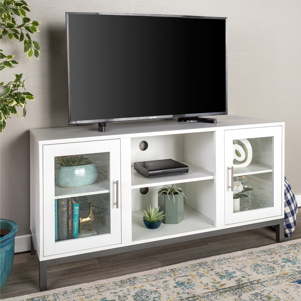 52 Wood Tv Console With Metal Legs – White – Saracina Home Throughout Maddy 60 Inch Tv Stands (View 1 of 20)