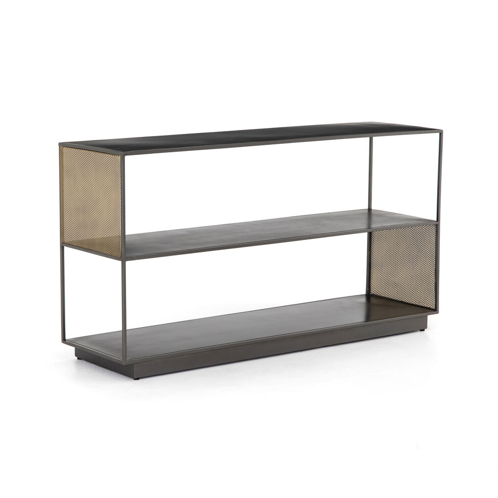 "60"" Wide Gabriele Media Console Iron In Gunmetal Perforated Brass Regarding Gunmetal Perforated Brass Media Console Tables (View 3 of 20)"