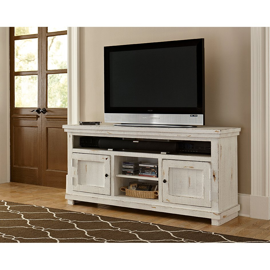 64 Inch Distressed White Tv Stand – Willow | Rc Willey Furniture Store Pertaining To Draper 62 Inch Tv Stands (Gallery 9 of 20)