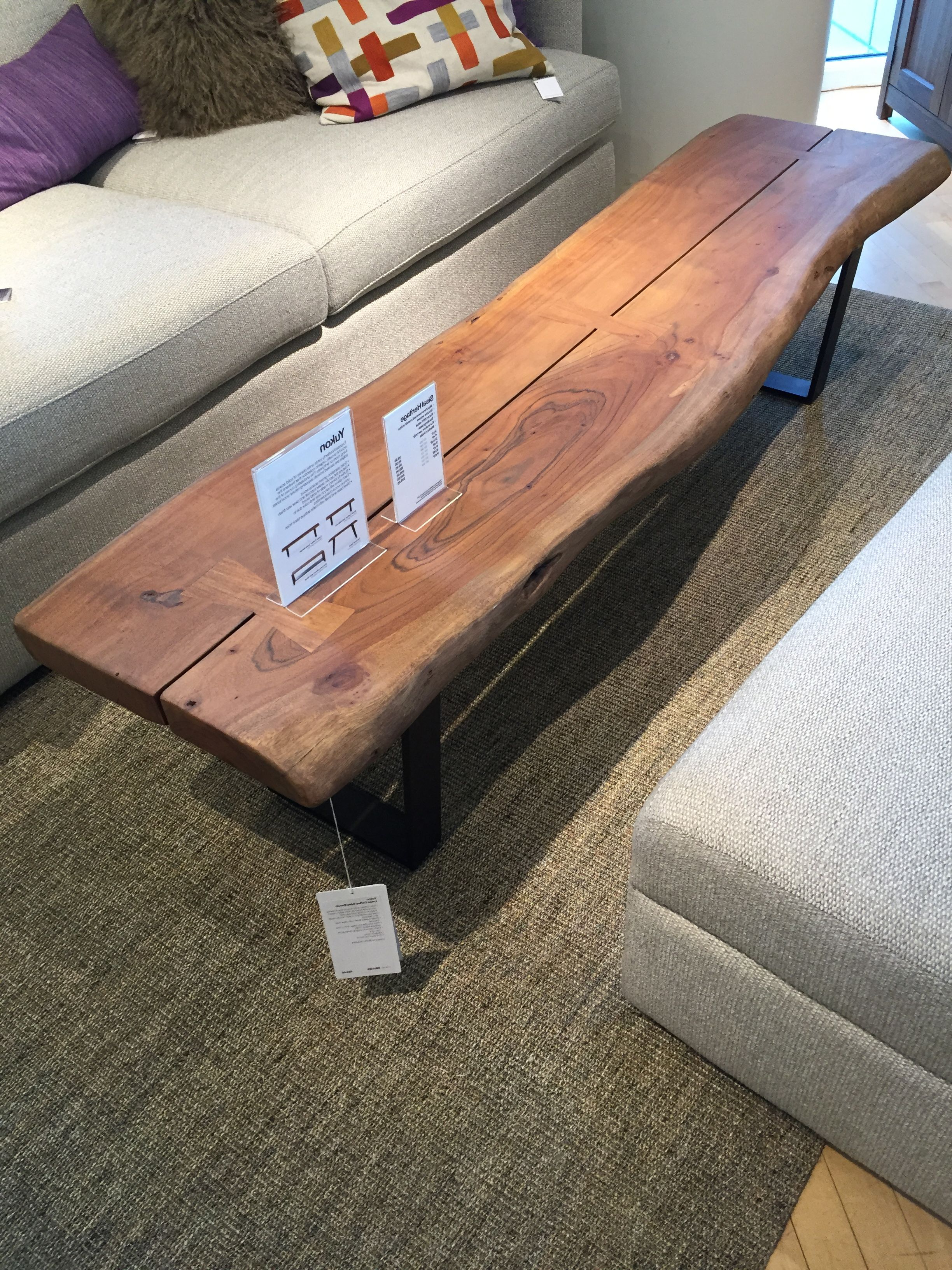 $699 Crate Barrel Yukon Large Coffee Table 75w X 17 D X 18 1/2 H Regarding Yukon Natural Console Tables (View 13 of 20)