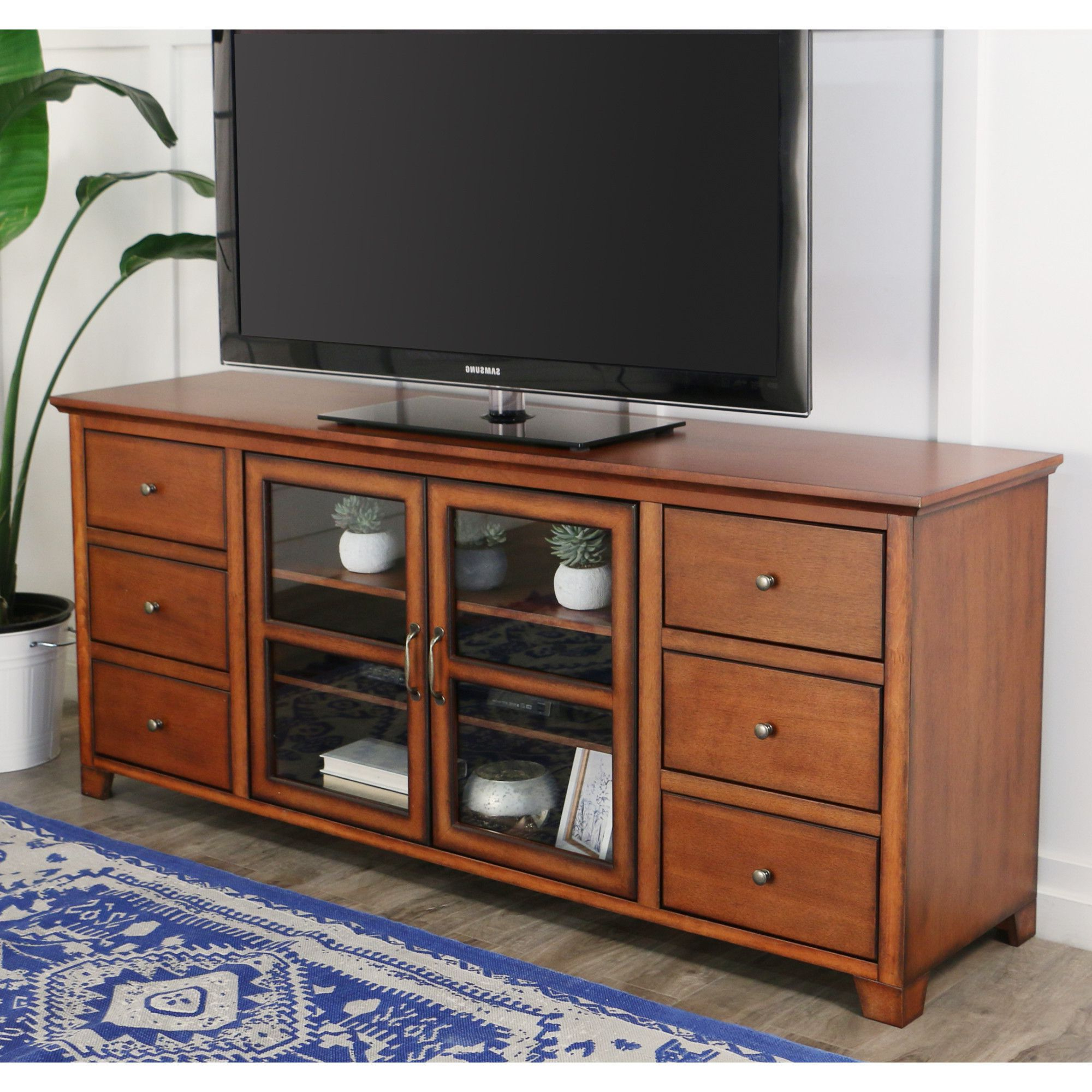 "70"" Paradigm Wood Tv Console – Rustic Brown 