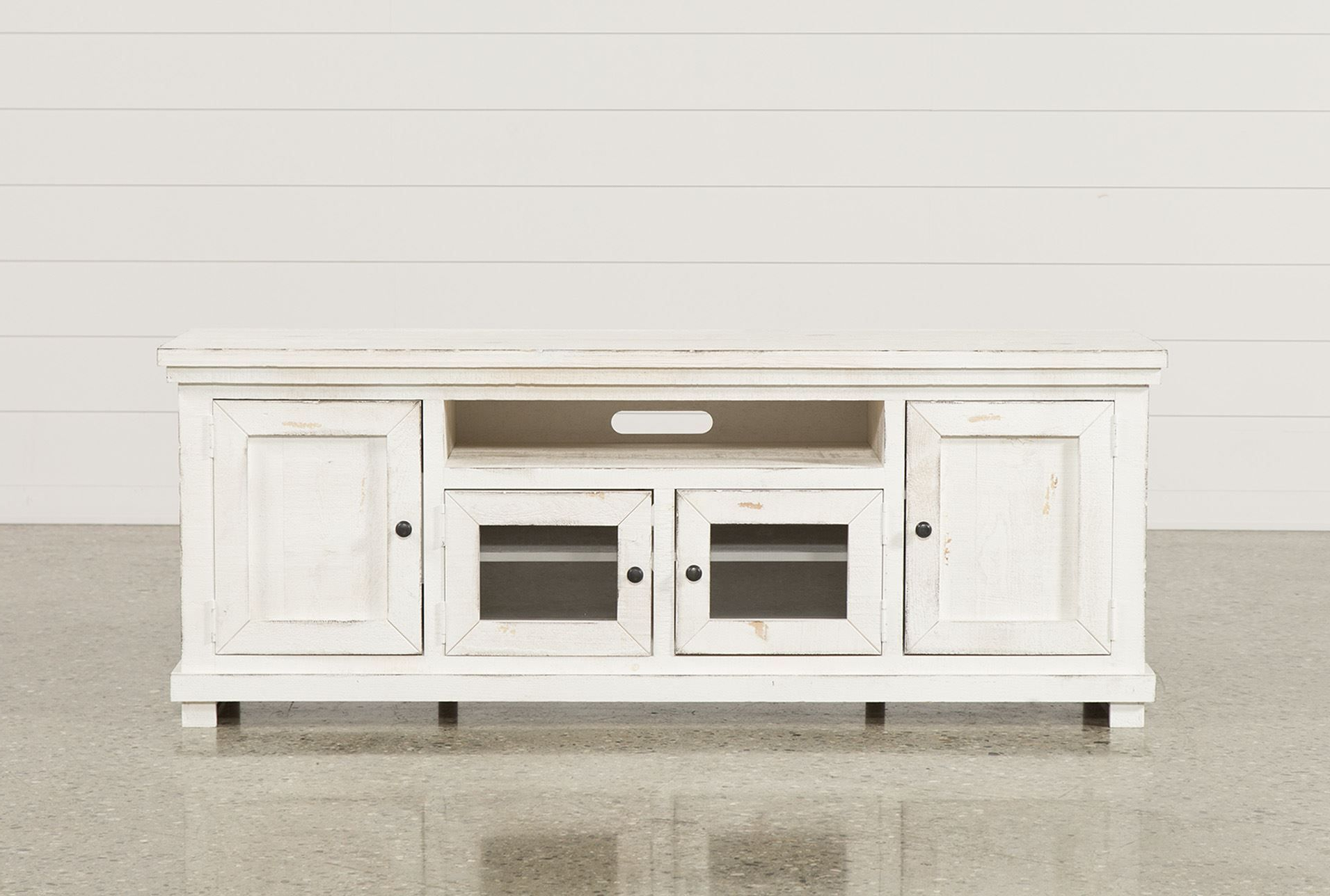 74 Inch Tv Stand, Sinclair White, Weathered White | Tv Stands With Regard To Walton Grey 72 Inch Tv Stands (View 4 of 20)