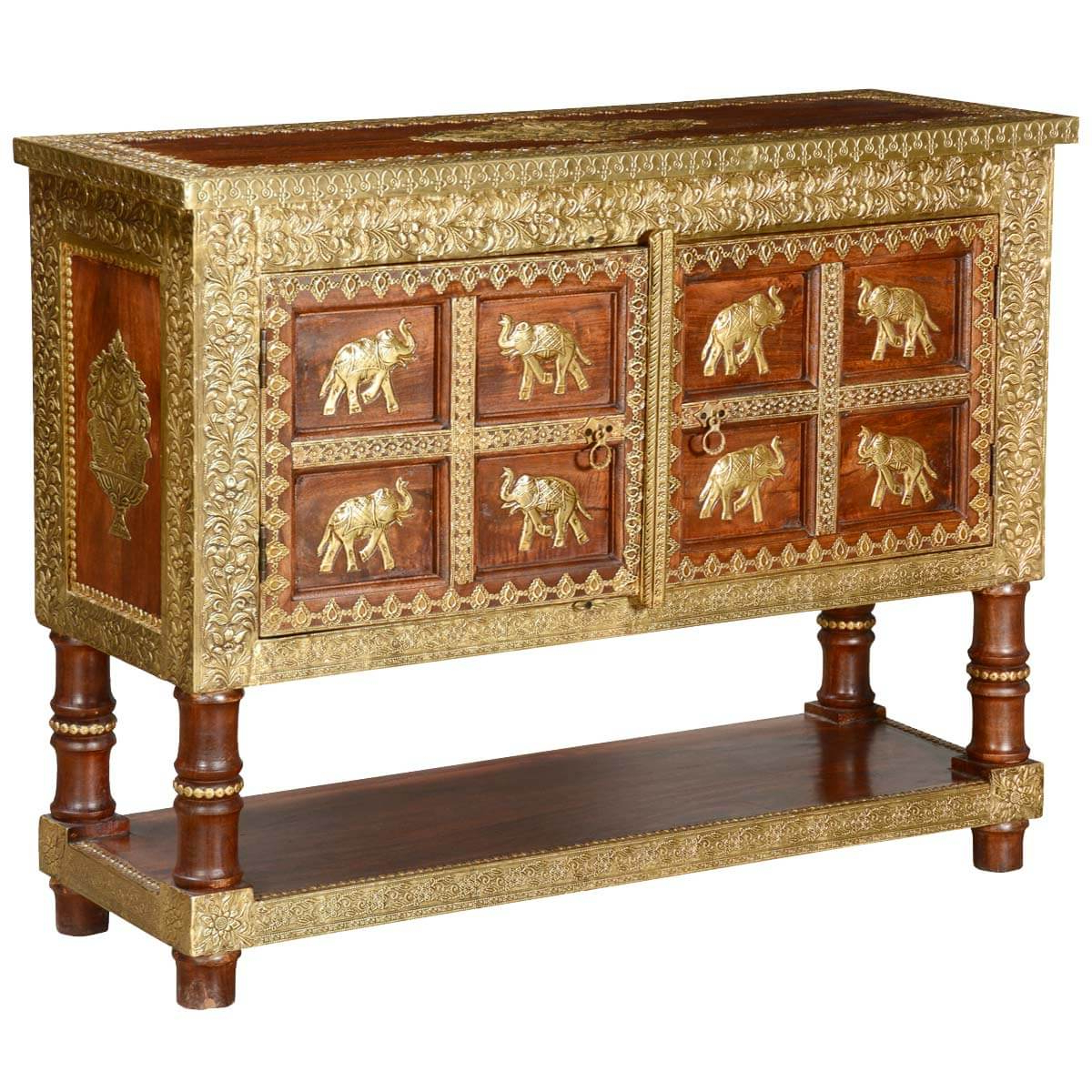 8 Golden Elephants Mango Wood & Brass Inlay Console Table Chest Inside Orange Inlay Console Tables (Gallery 11 of 20)