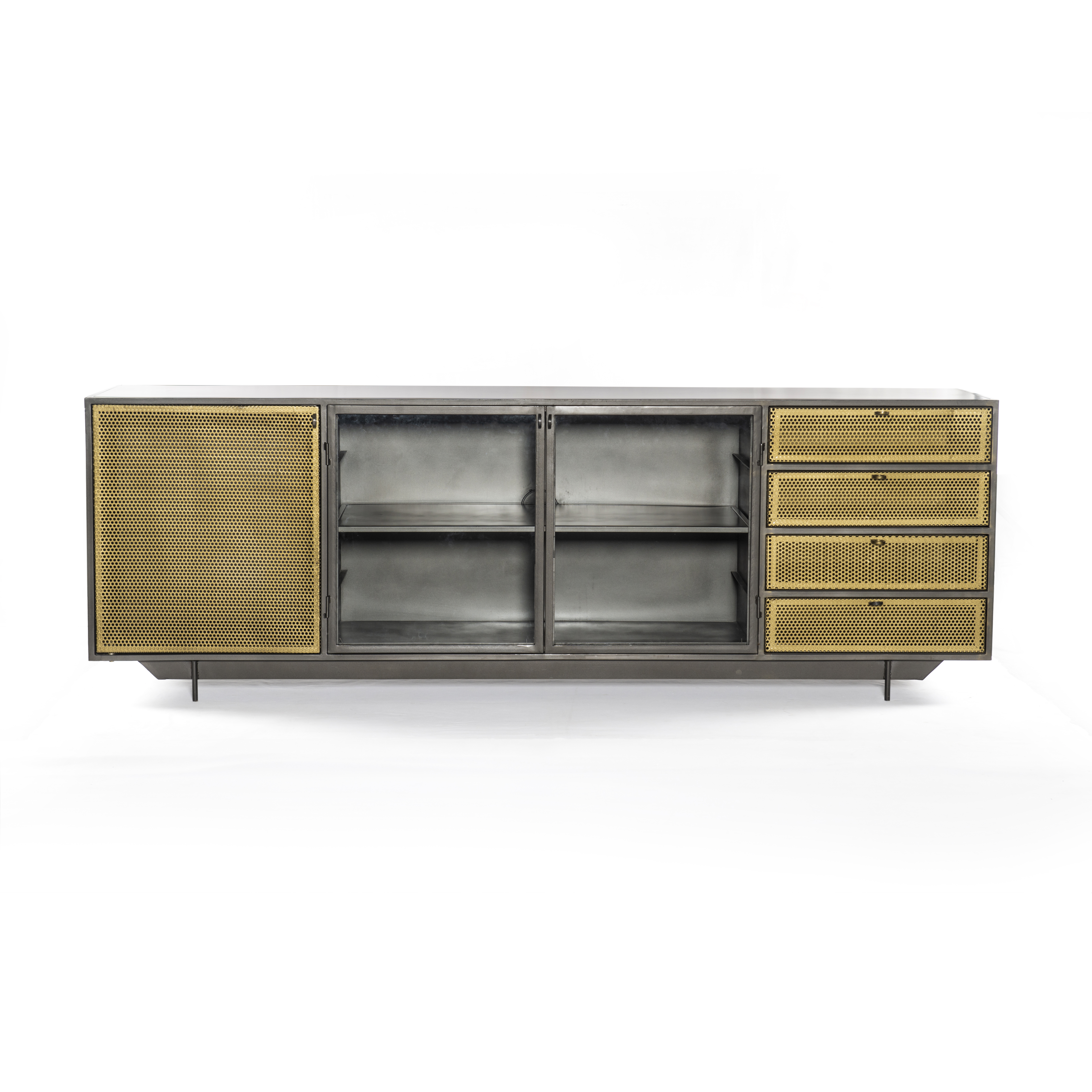 """83"""" L Romolo Media Console Iron Glass Perforated Brass Clear Regarding Gunmetal Media Console Tables (Gallery 4 of 20)"""