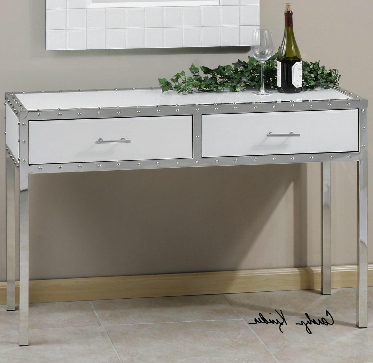 86Quot L Plasma Tv Console Table 2 Glass Doors 2 Drawers Console With Regard To Natural 2 Door Plasma Console Tables (Gallery 16 of 20)