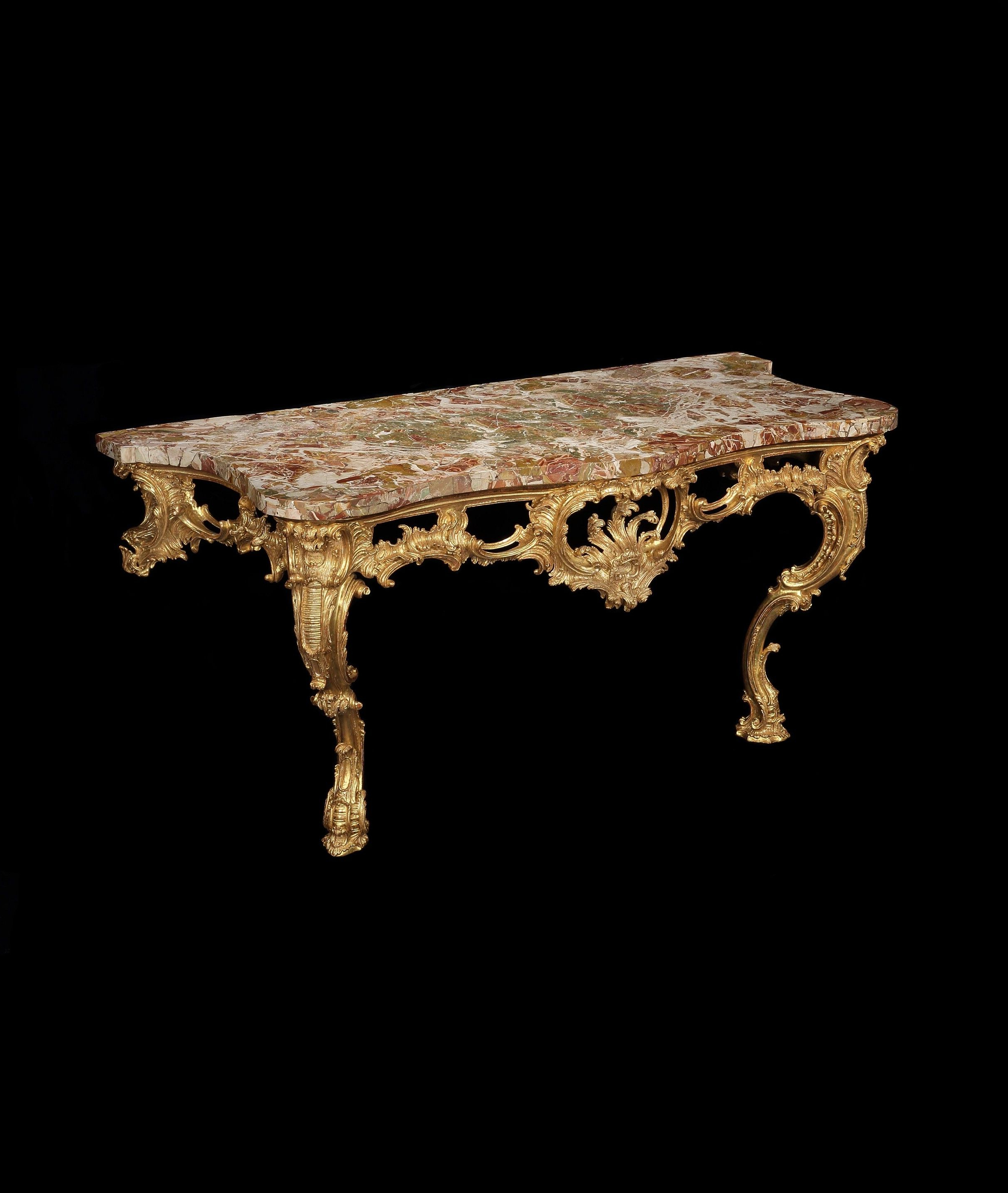 A Large George Ii Giltwood Console Table Attributed To Matthias Lock Intended For Phillip Brass Console Tables (View 1 of 20)