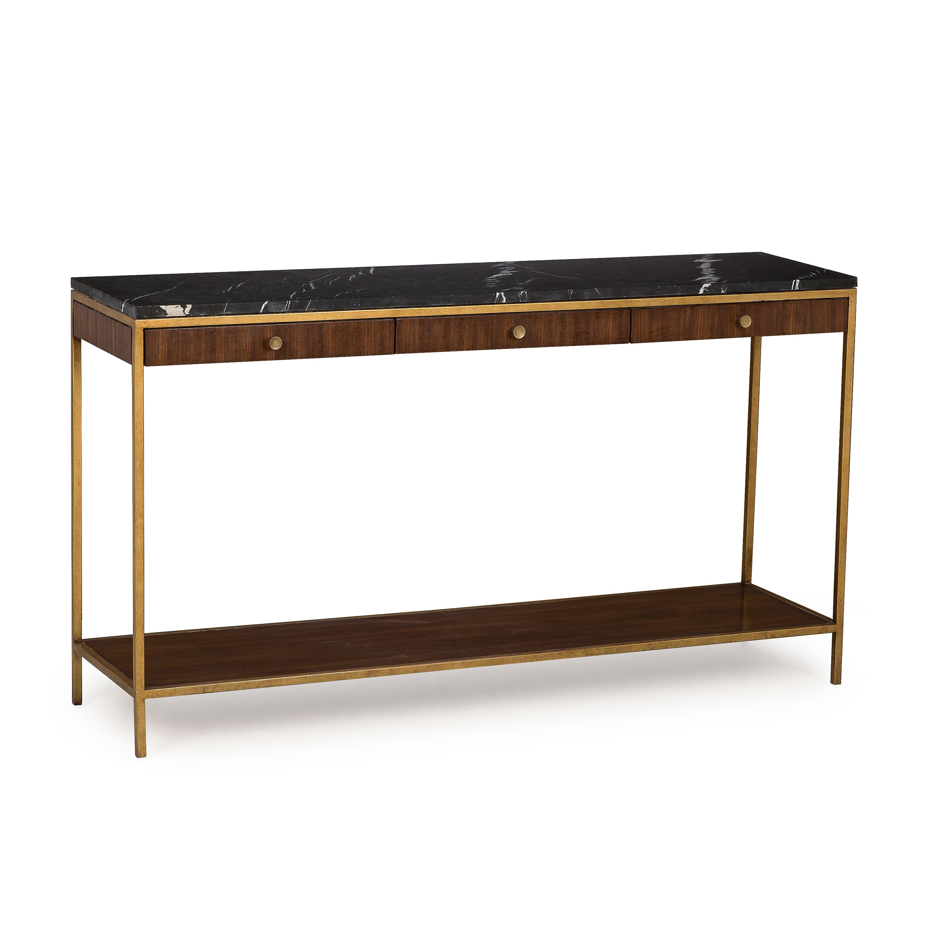 A Mid Century Inspired Console Table With A Beautiful Satin Brass Pertaining To Mix Agate Metal Frame Console Tables (View 2 of 20)