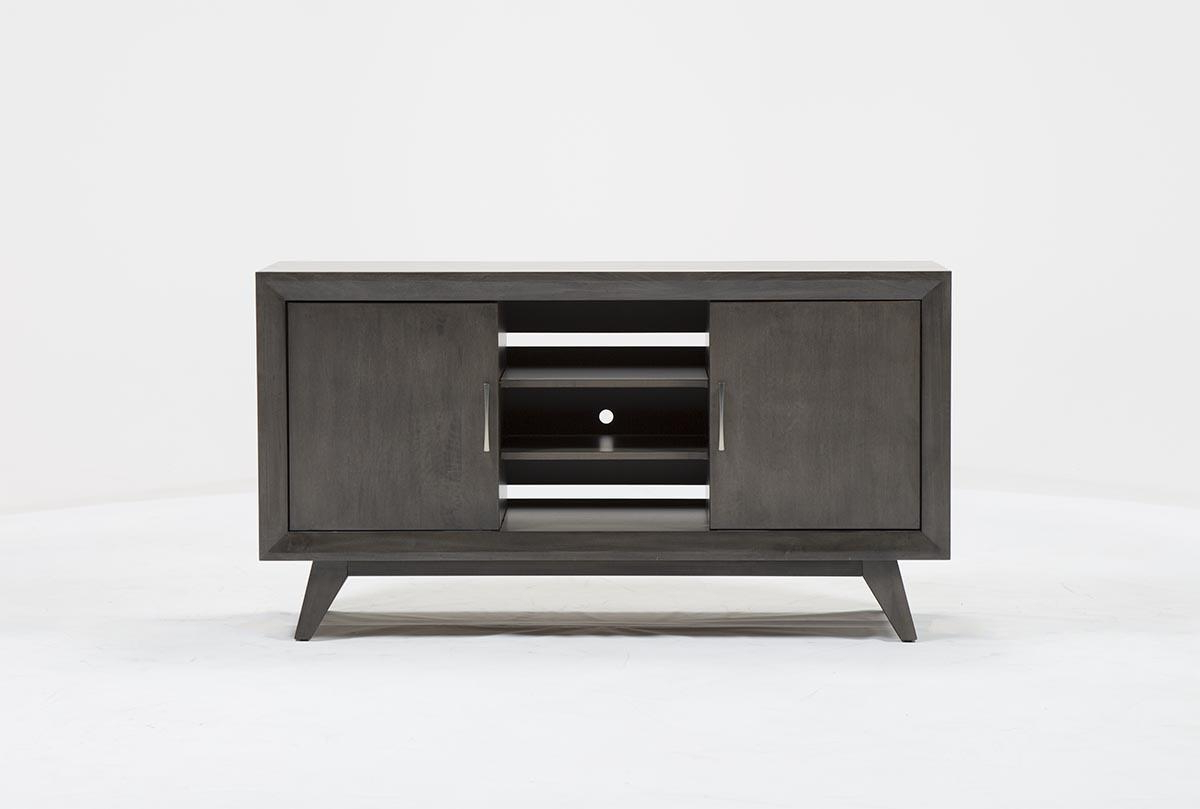 Abbott Driftwood 60 Inch Tv Stand | Living Spaces Pertaining To Melrose Titanium 65 Inch Lowboy Tv Stands (View 1 of 18)