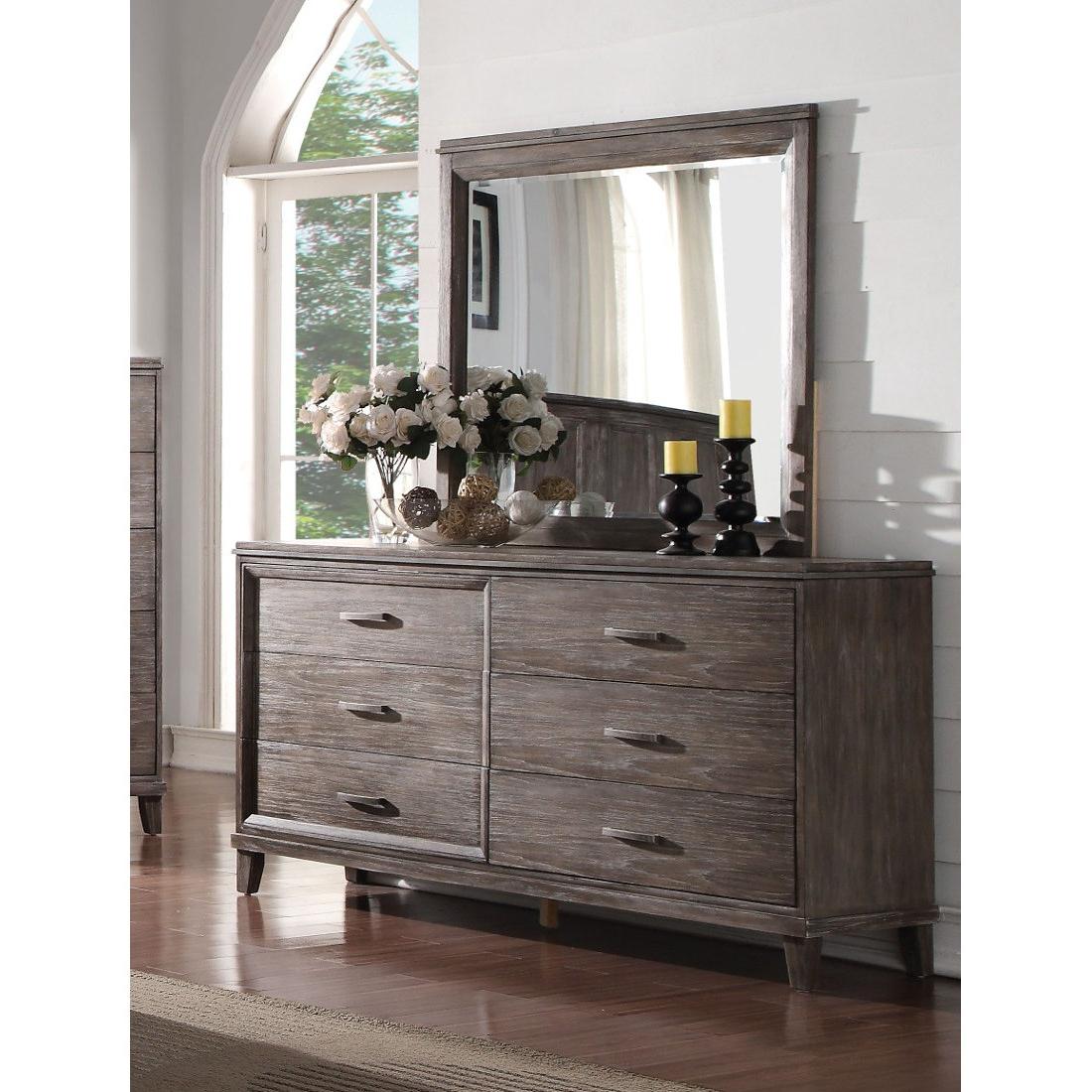 Acme Bayonne Dresser With Mirror In Burnt Oak In Burnt Oak Metal Sideboards (View 10 of 20)
