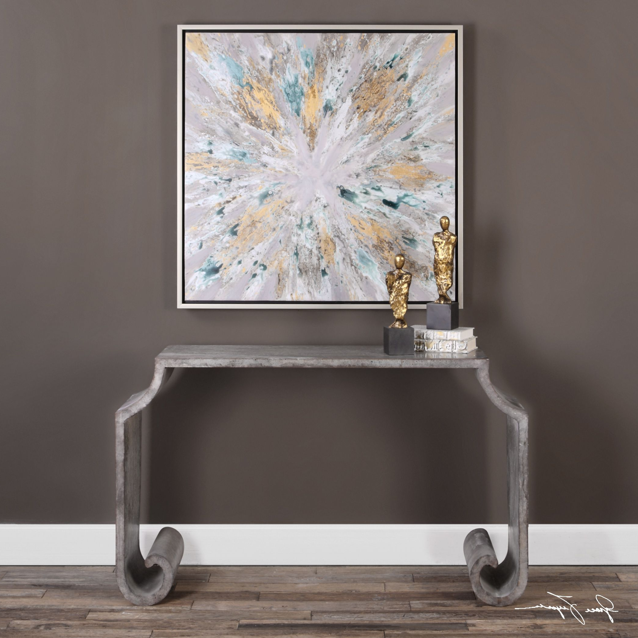 Agathon Stone Gray Console Table | Console Tables, Consoles And Stone Within Parsons Black Marble Top & Dark Steel Base 48X16 Console Tables (View 2 of 20)