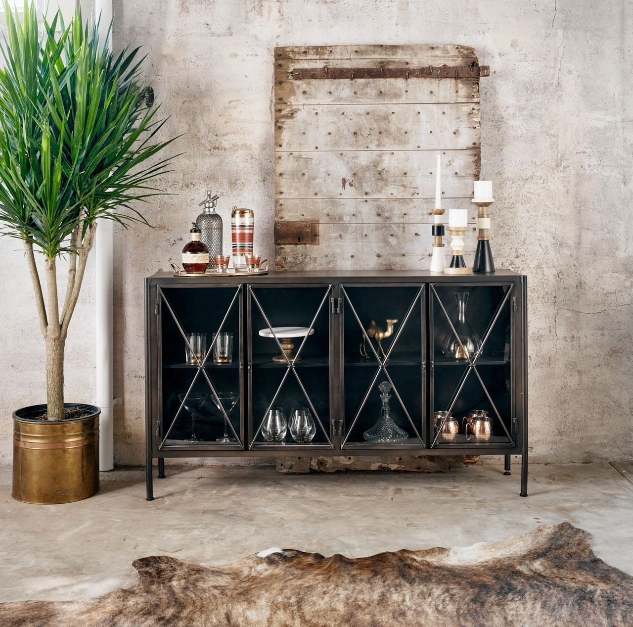 Aged Black Metal Media Console Sideboard | Decorate|Furnishings Throughout Walters Media Console Tables (Gallery 9 of 20)