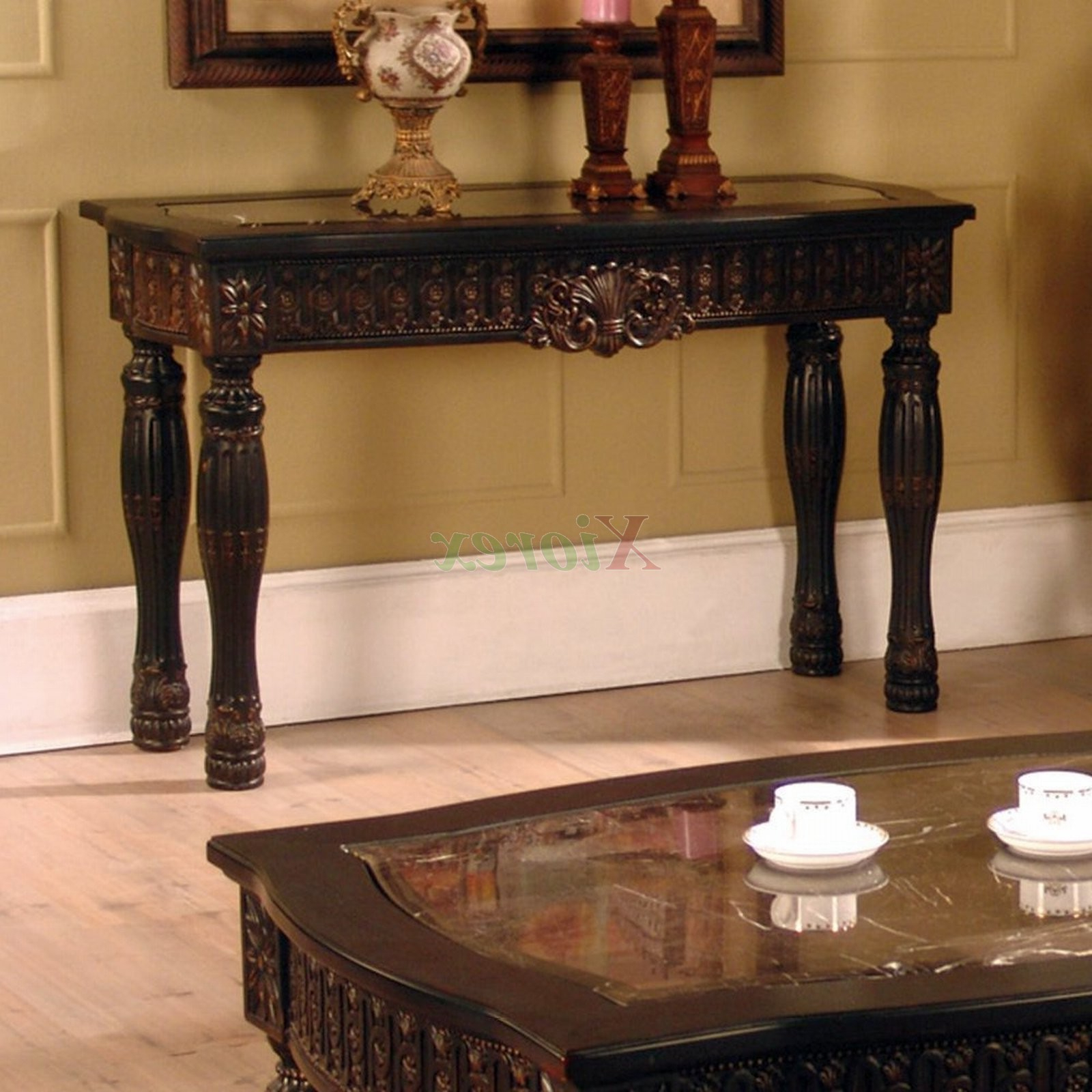 Ajax Faux Marble Inlay Sofa Table Living Space Furniture | Xiorex Regarding Orange Inlay Console Tables (View 8 of 20)