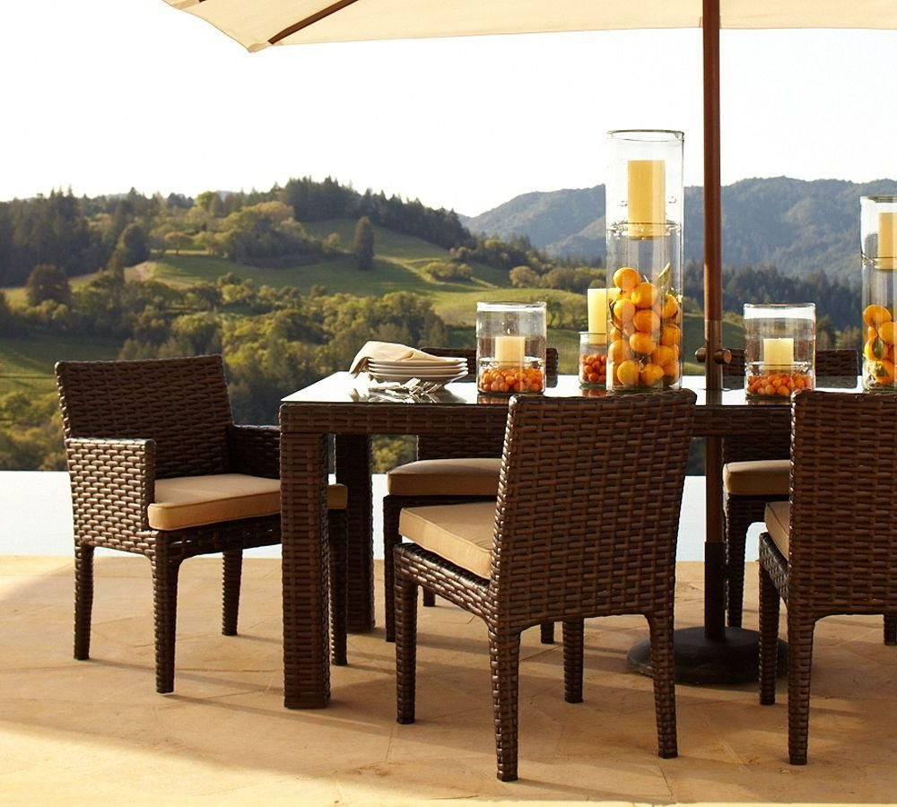 Alcanes Dining Set 045 Studio | Alcanes Outdoor Rattan Furniture In Parsons Travertine Top & Stainless Steel Base 48X16 Console Tables (Gallery 11 of 15)