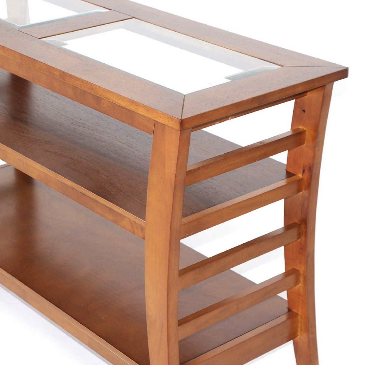 Allison Honey Brown Wood Modern Console Table With Glass Inlay | See Intended For Orange Inlay Console Tables (View 5 of 20)