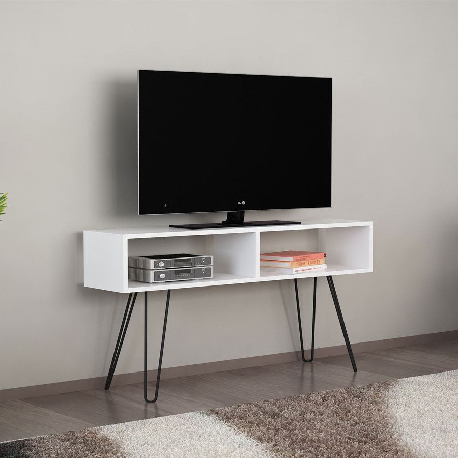 Alya Metal Ayaklı Tv Ünitesi | Beyaz | Koçtaş Inside Cato 60 Inch Tv Stands (View 4 of 20)