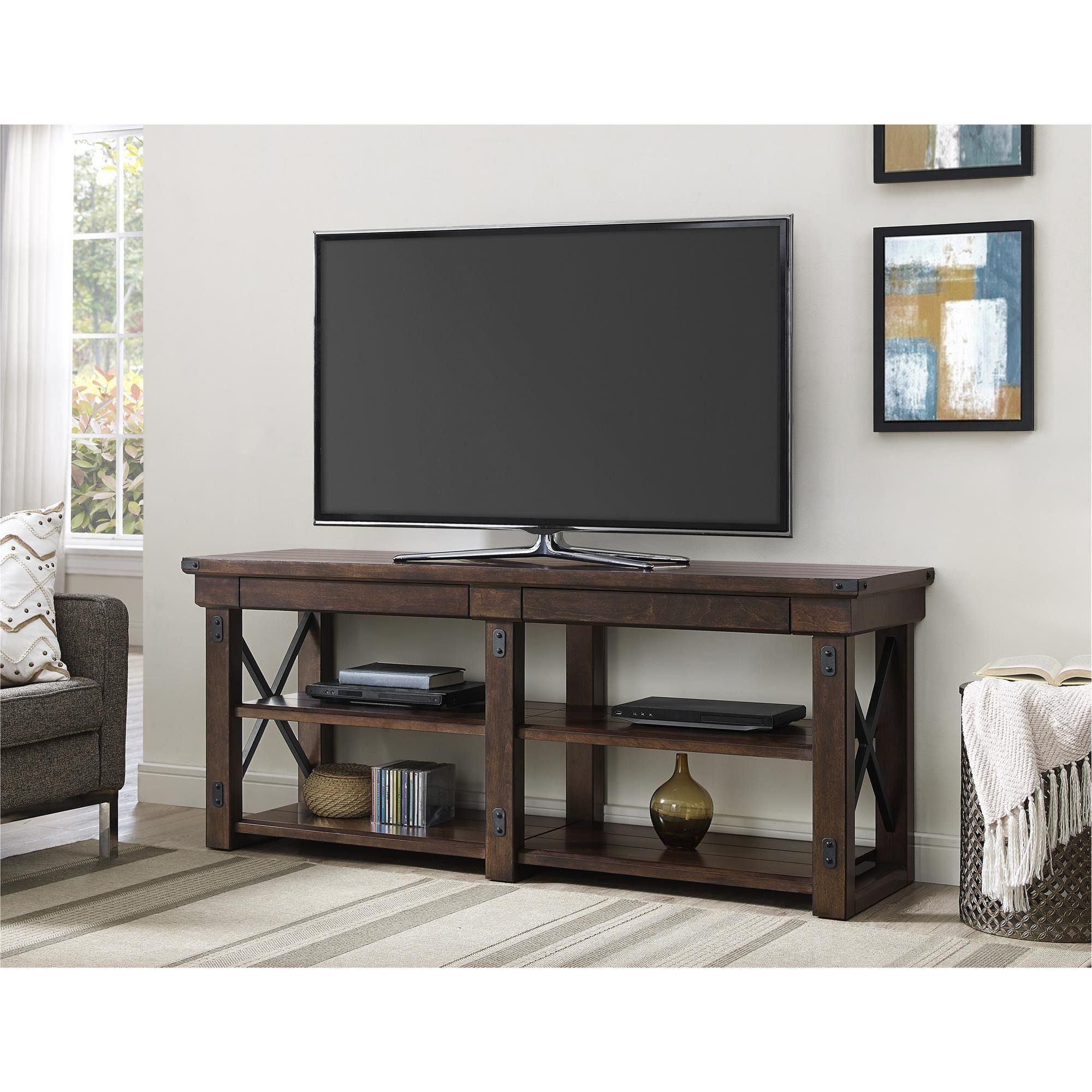 Ameriwood Home Wildwood Mahogany Veneer 65 Inch Tv Stand (65 Inch Tv Within Kenzie 72 Inch Open Display Tv Stands (View 11 of 20)
