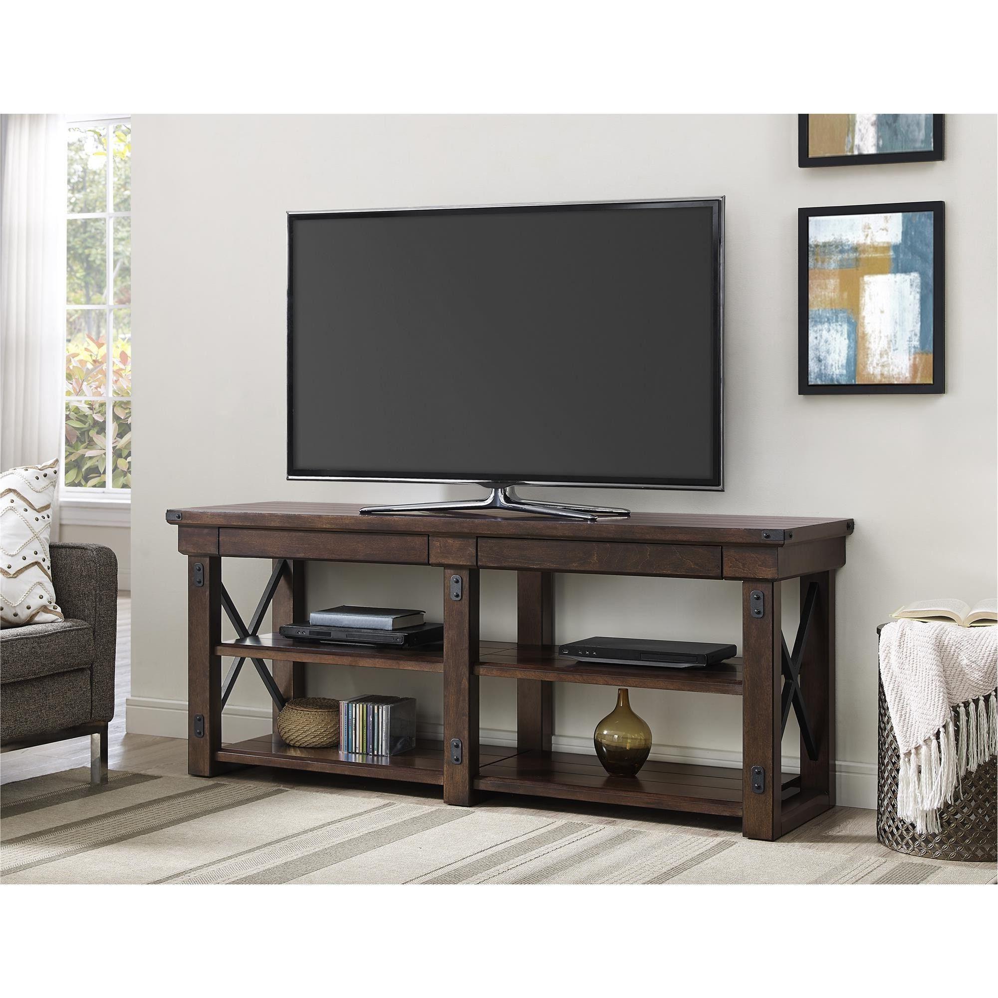 Ameriwood Home Wildwood Mahogany Veneer 65 Inch Tv Stand (65 Inch Tv Within Kenzie 72 Inch Open Display Tv Stands (View 8 of 20)