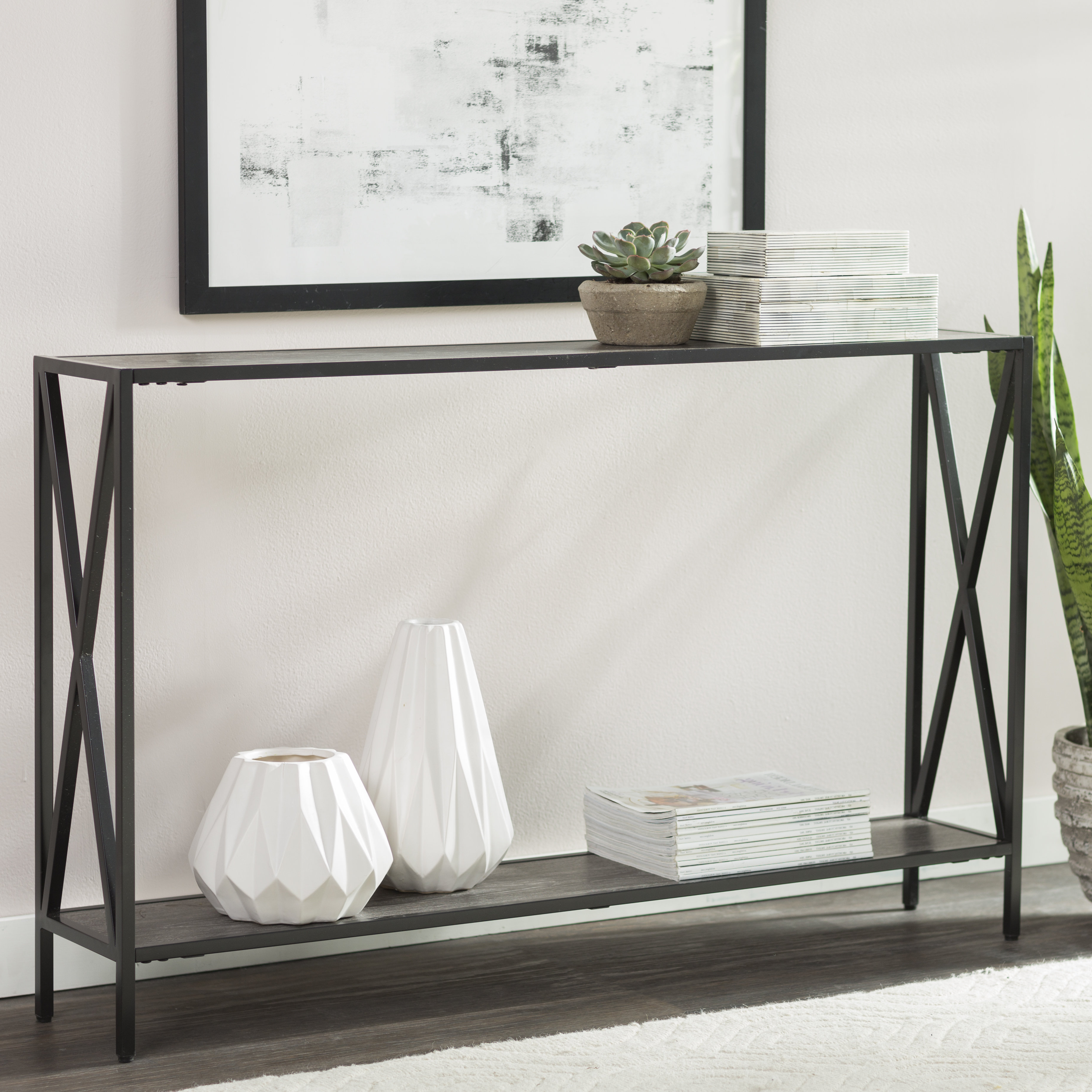 Andover Mills Abbottsmoor Metal Frame Console Table & Reviews | Wayfair With Frame Console Tables (Gallery 2 of 20)