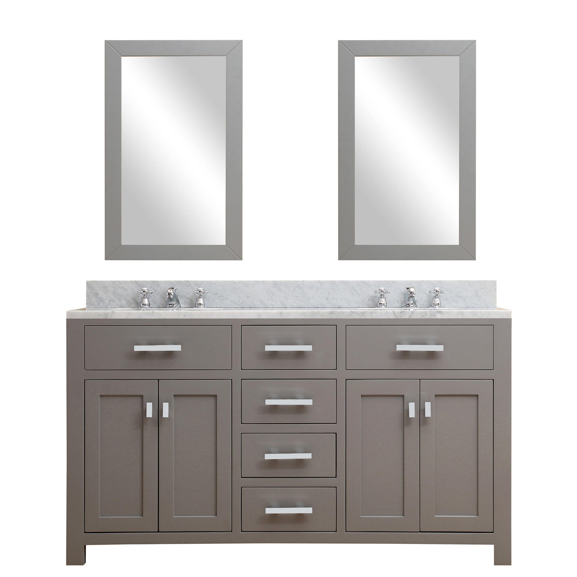 "Andover Mills Raven 60"" Double Bathroom Vanity Set With Mirror Intended For Raven Grey Tv Stands (View 11 of 20)"