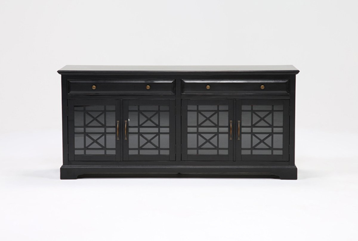 Annabelle Black 70 Inch Tv Stand | Living Spaces Regarding Dixon White 65 Inch Tv Stands (View 2 of 20)