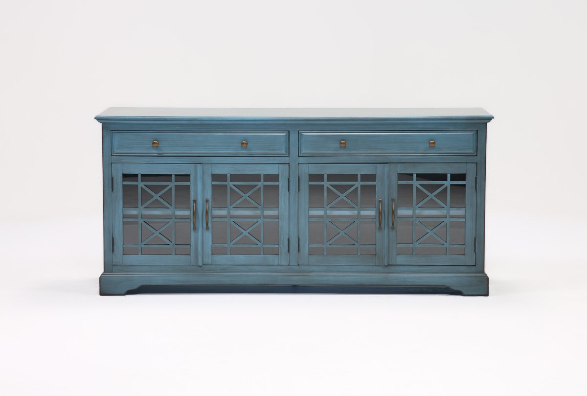 Annabelle Blue 70 Inch Tv Stand | Living Spaces Intended For Annabelle Cream 70 Inch Tv Stands (Gallery 6 of 20)