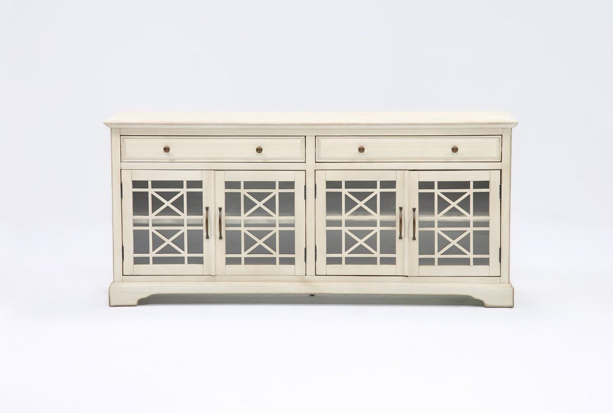 Annabelle Cream 70 Inch Tv Console – Living Spaces | Living Dining With Annabelle Black 70 Inch Tv Stands (View 9 of 20)
