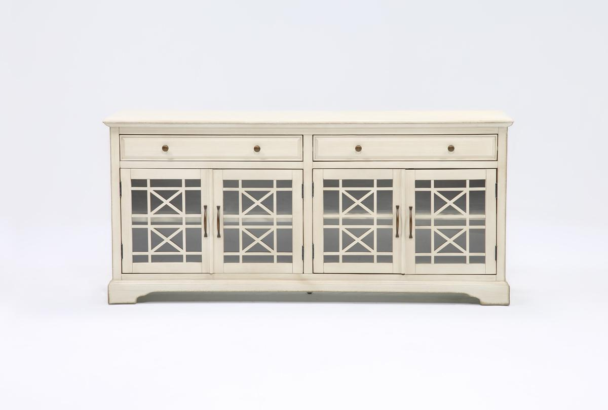 Annabelle Cream 70 Inch Tv Stand | Living Spaces In Maddy 70 Inch Tv Stands (View 3 of 20)
