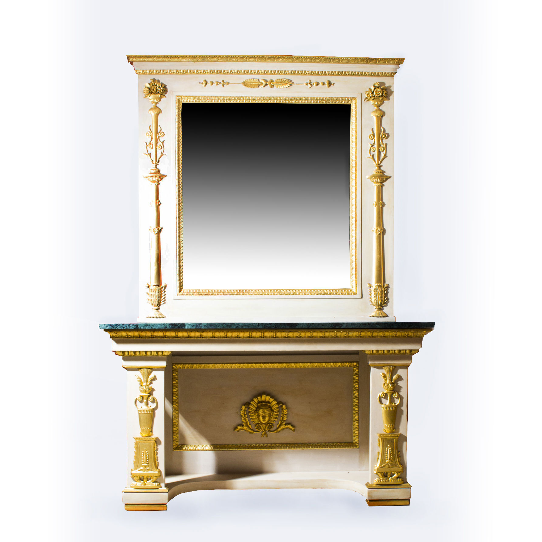 Antique Roman Console Table With Mirror & Marble Top 248 X 168 Cm (C Throughout Roman Metal Top Console Tables (Gallery 11 of 20)