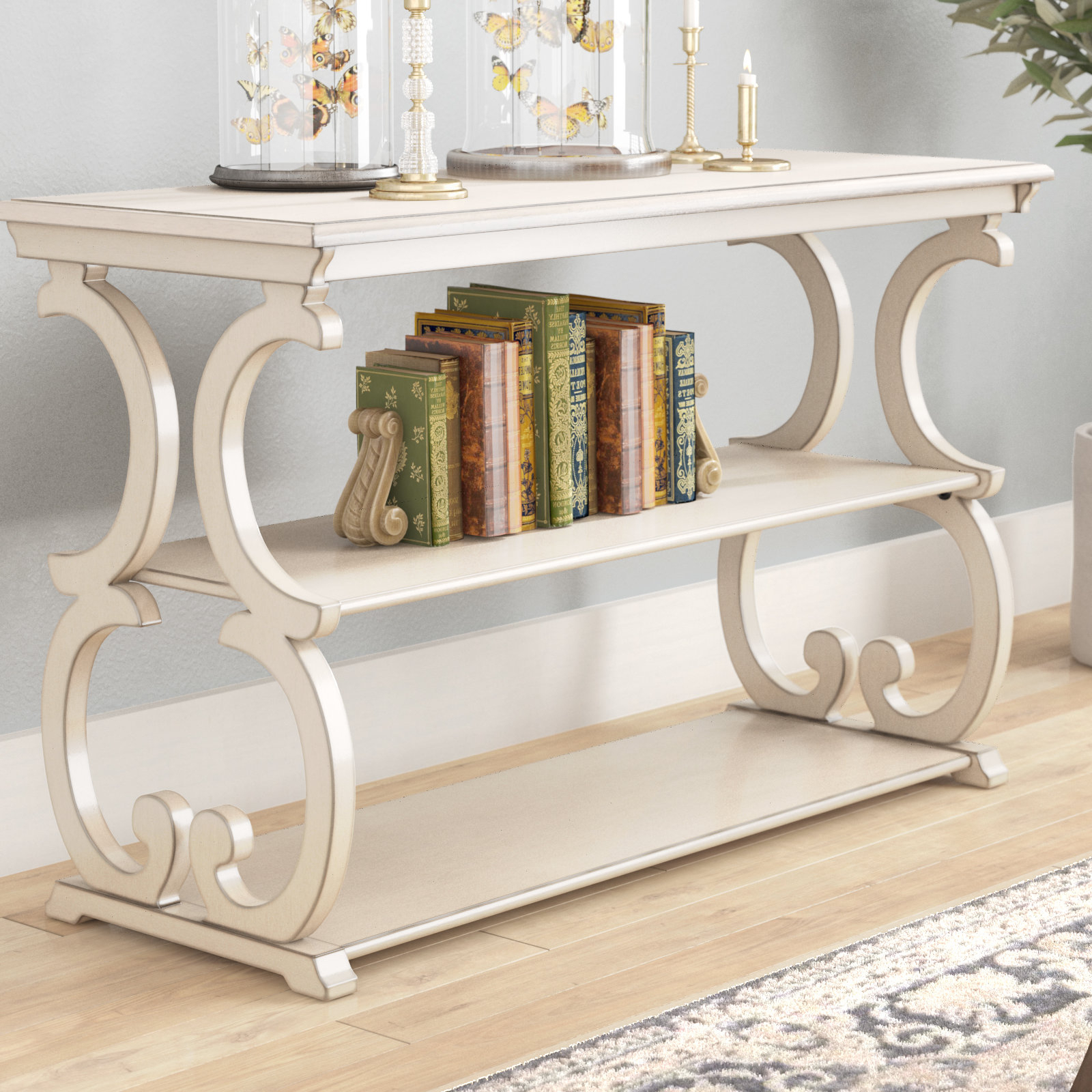 Antique White Console Table | Wayfair Pertaining To Antique White Distressed Console Tables (Gallery 7 of 20)