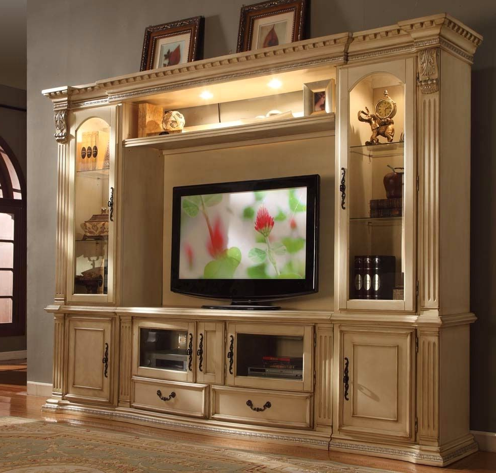 "Athens Classic Antique White 62"" Tv Entertainment Center Wall Unit Pertaining To Lauderdale 62 Inch Tv Stands (View 11 of 20)"
