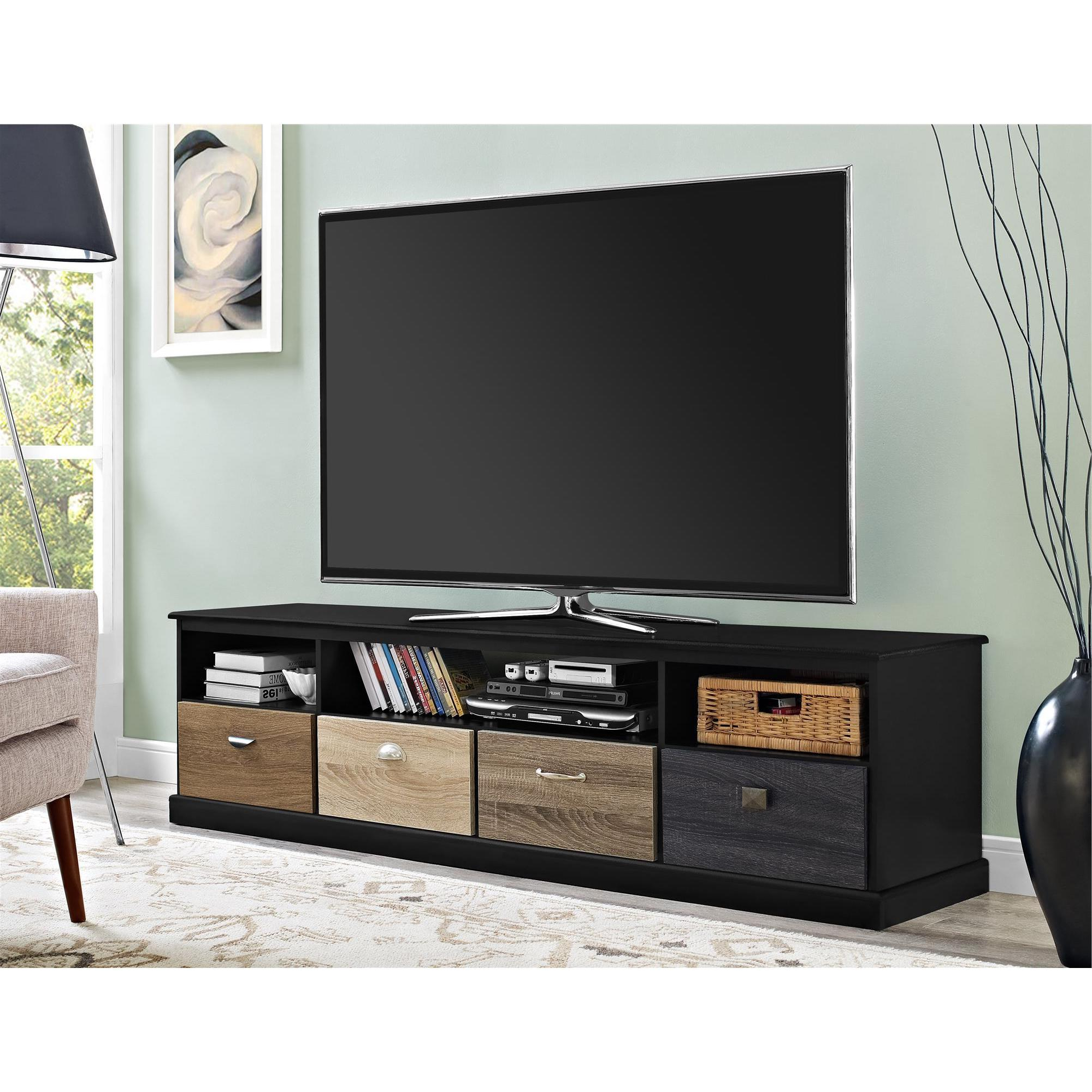Avenue Greene Mercer 65 Inch Black Tv Console With Multicolored Drawer  Fronts Inside Kilian Grey 74 Inch Tv Stands (Gallery 3 of 20)