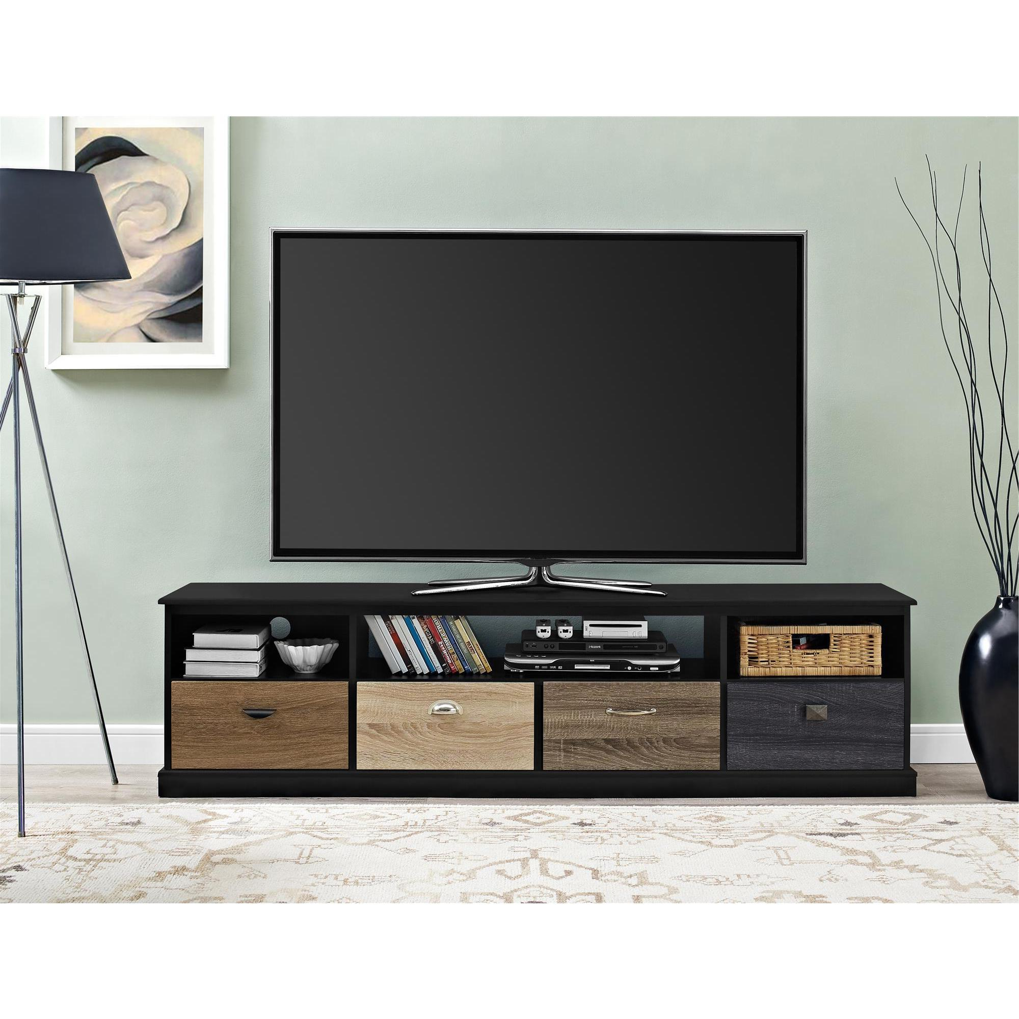 Avenue Greene Mercer 65 Inch Black Tv Console With Multicolored Drawer  Fronts With Kilian Grey 74 Inch Tv Stands (View 7 of 20)