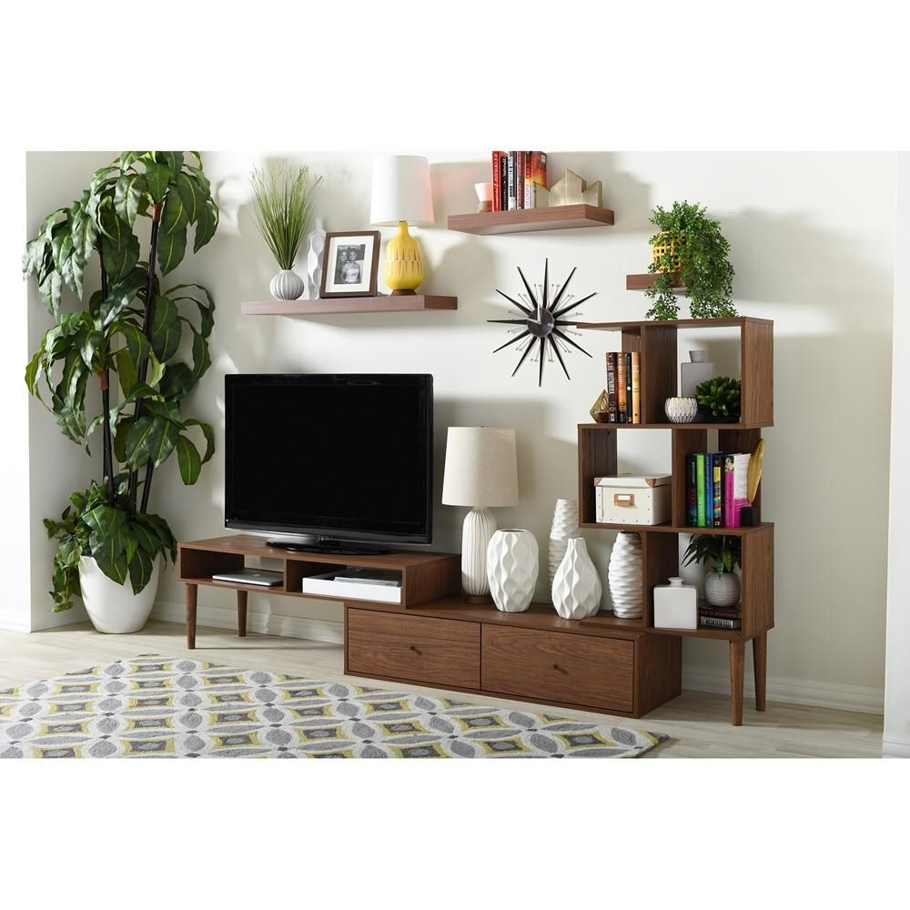 Baxton Studio Haversham Contact Tv Stand Mid Century Retro Modern Within Dixon White 65 Inch Tv Stands (View 9 of 20)
