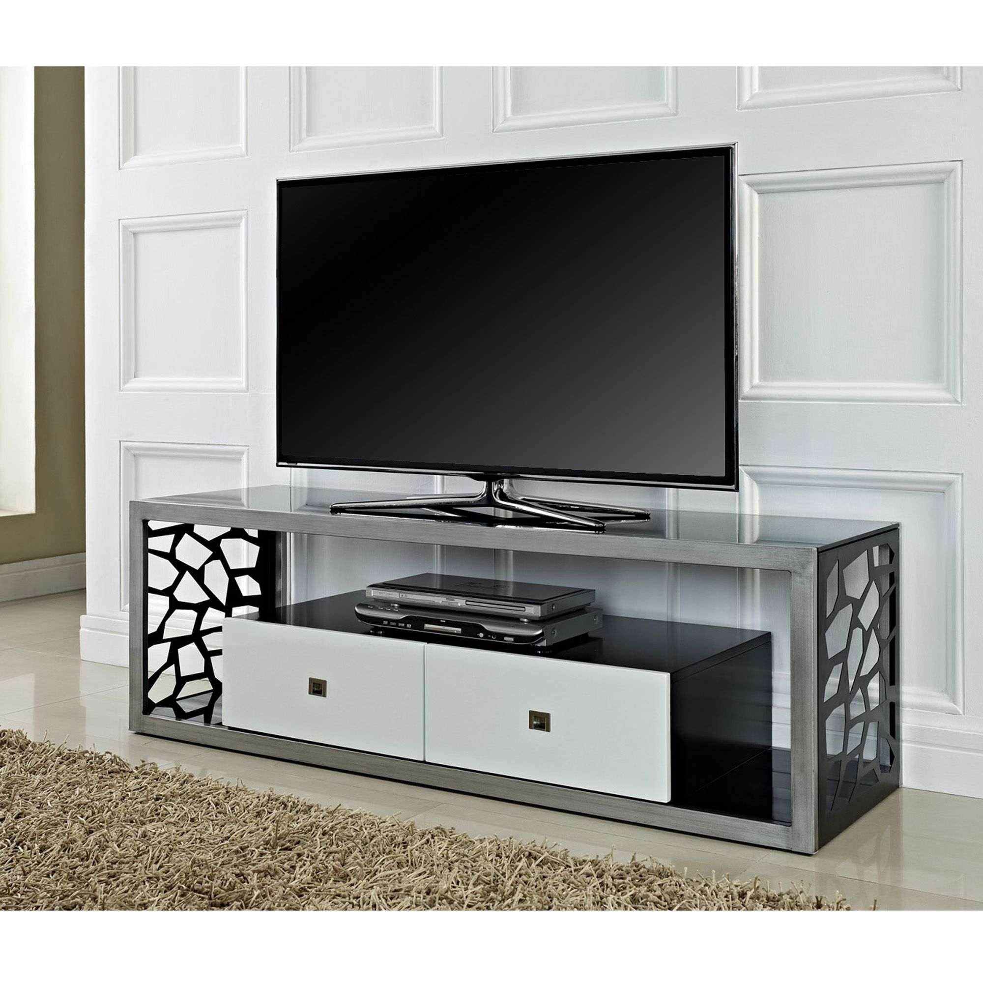 "Beautiful 60"" Mosaic Tv Stand, Brushed Silver Frame With White With Regard To Rowan 45 Inch Tv Stands (View 2 of 20)"