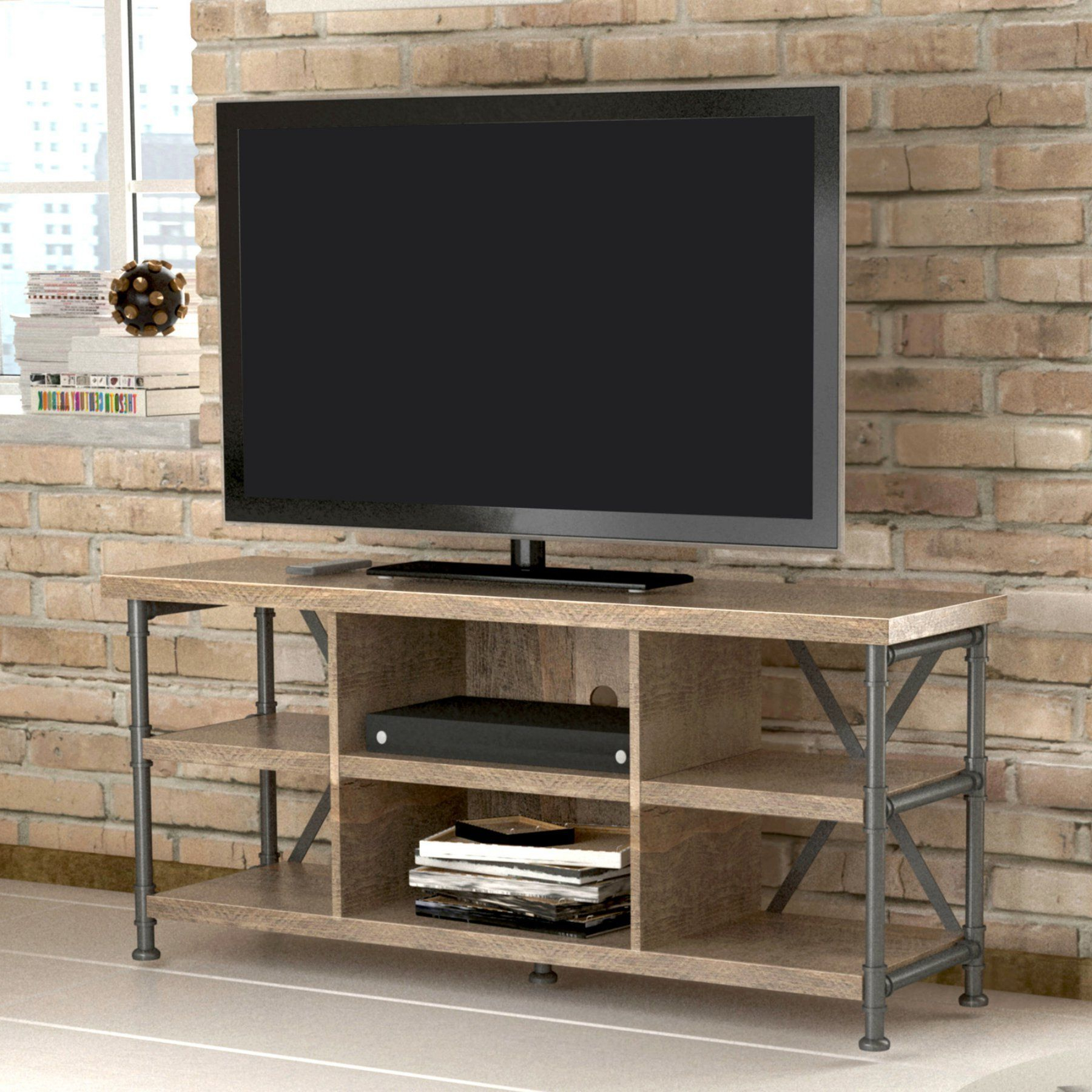 Bello Irondale 54 In. Tv Stand – Autumn Driftwood – Tc54 6096 Pd04 Regarding Kilian Grey 60 Inch Tv Stands (Gallery 2 of 20)