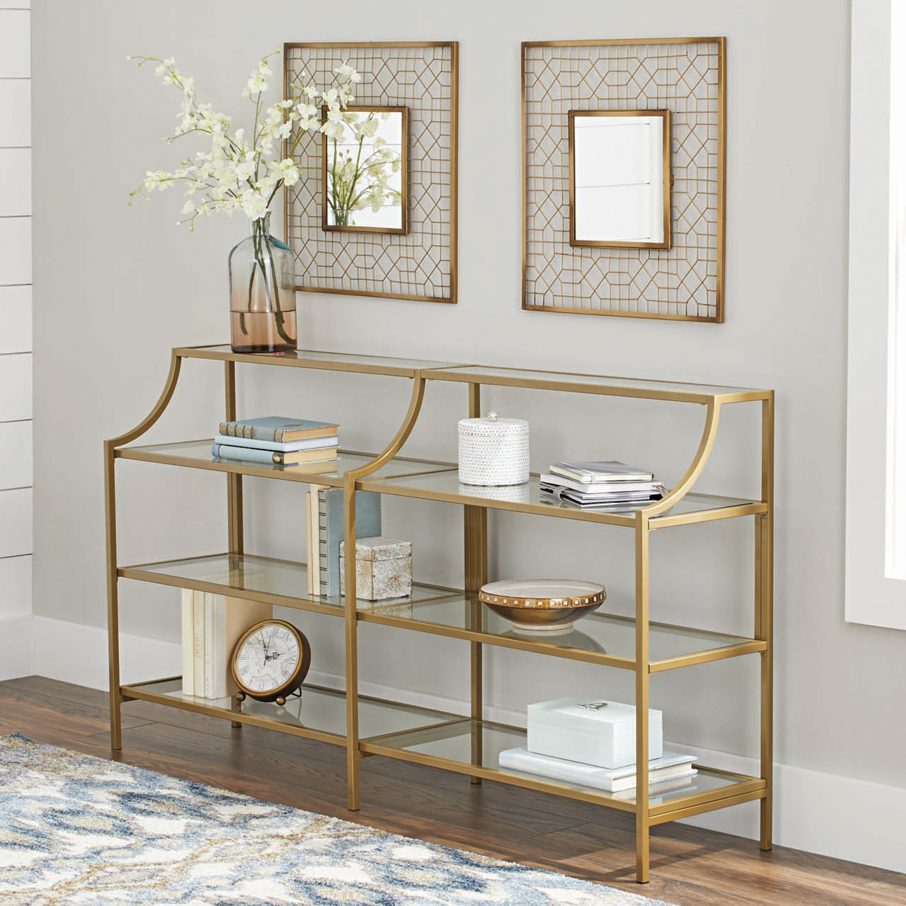 Better Homes Gardens Nola Console Table, Gold Finish 689413782828 | Ebay Within Ventana Display Console Tables (View 19 of 20)