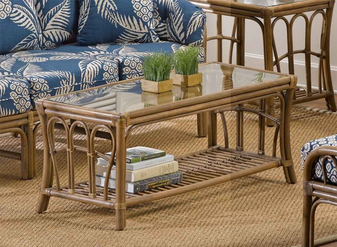 Bimini Natural Rattan Rectangular Cocktail Table For Natural Cane Media Console Tables (Gallery 17 of 20)
